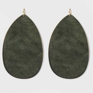 NWT large drop faux leather earrings
